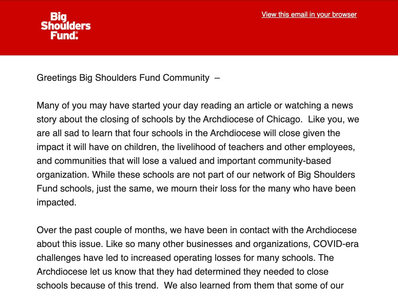 Big shoulders fund email newsletter