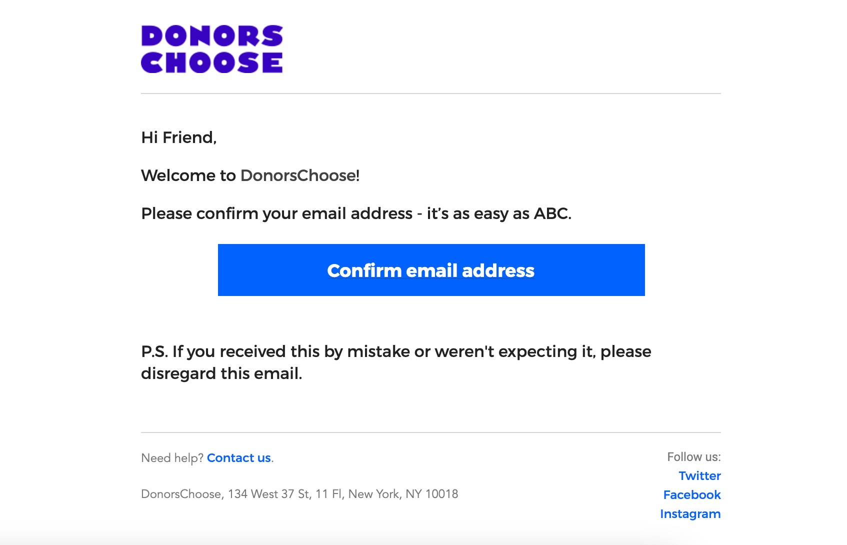 Donors Choose email message