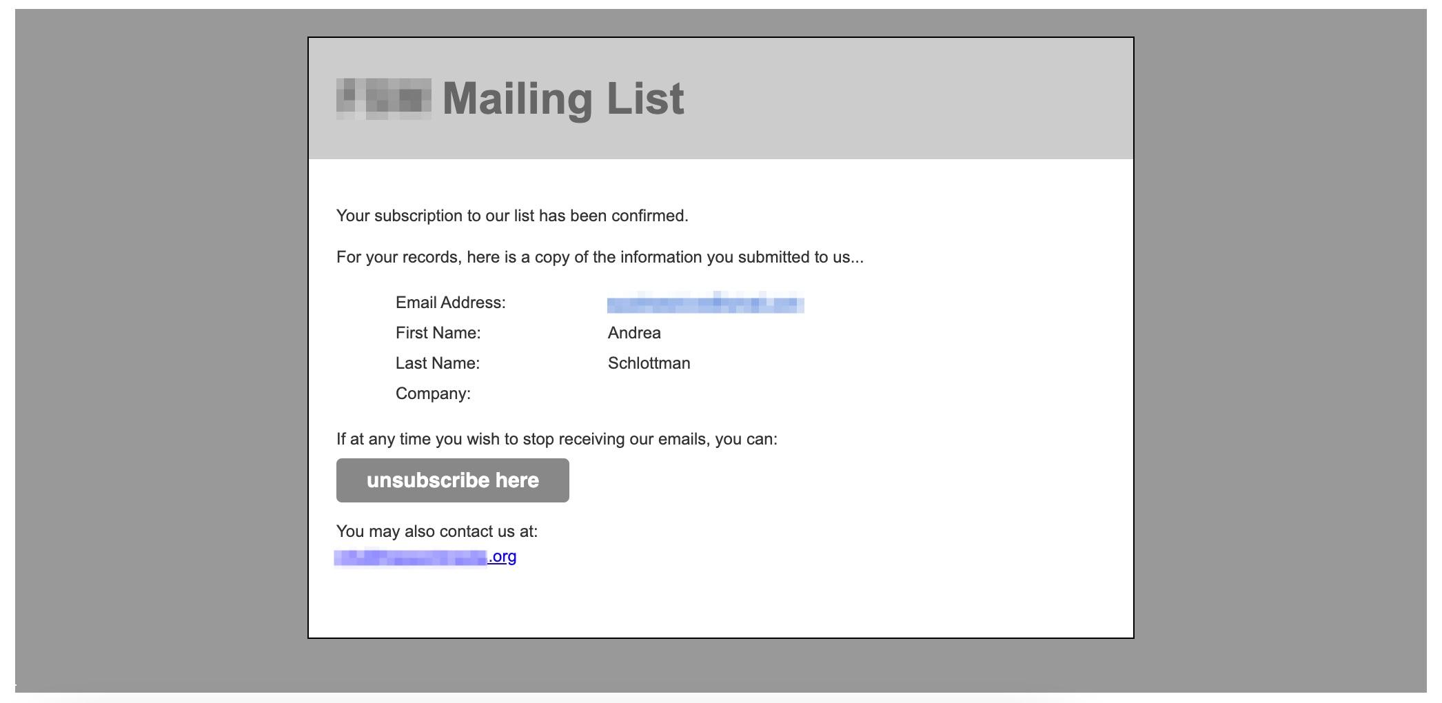 Mailchimp default message