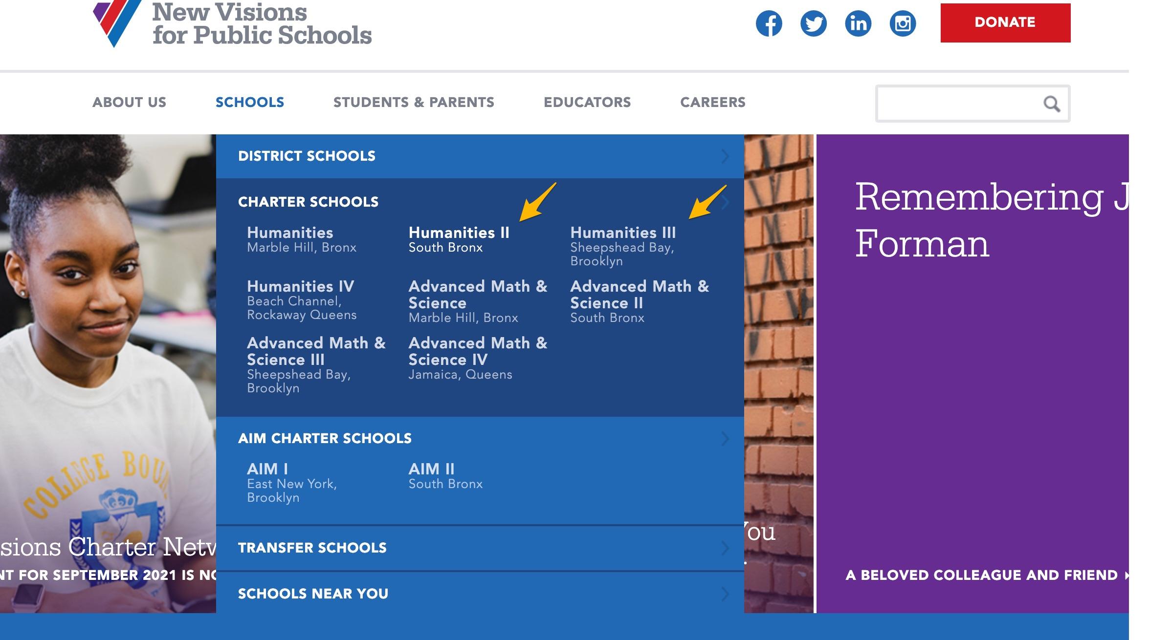 New Visions for Public Schools double dropdown menu example