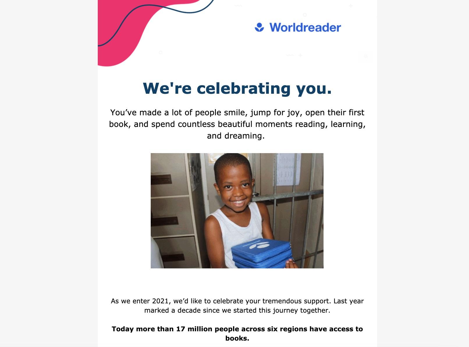Worldreader email newsletter