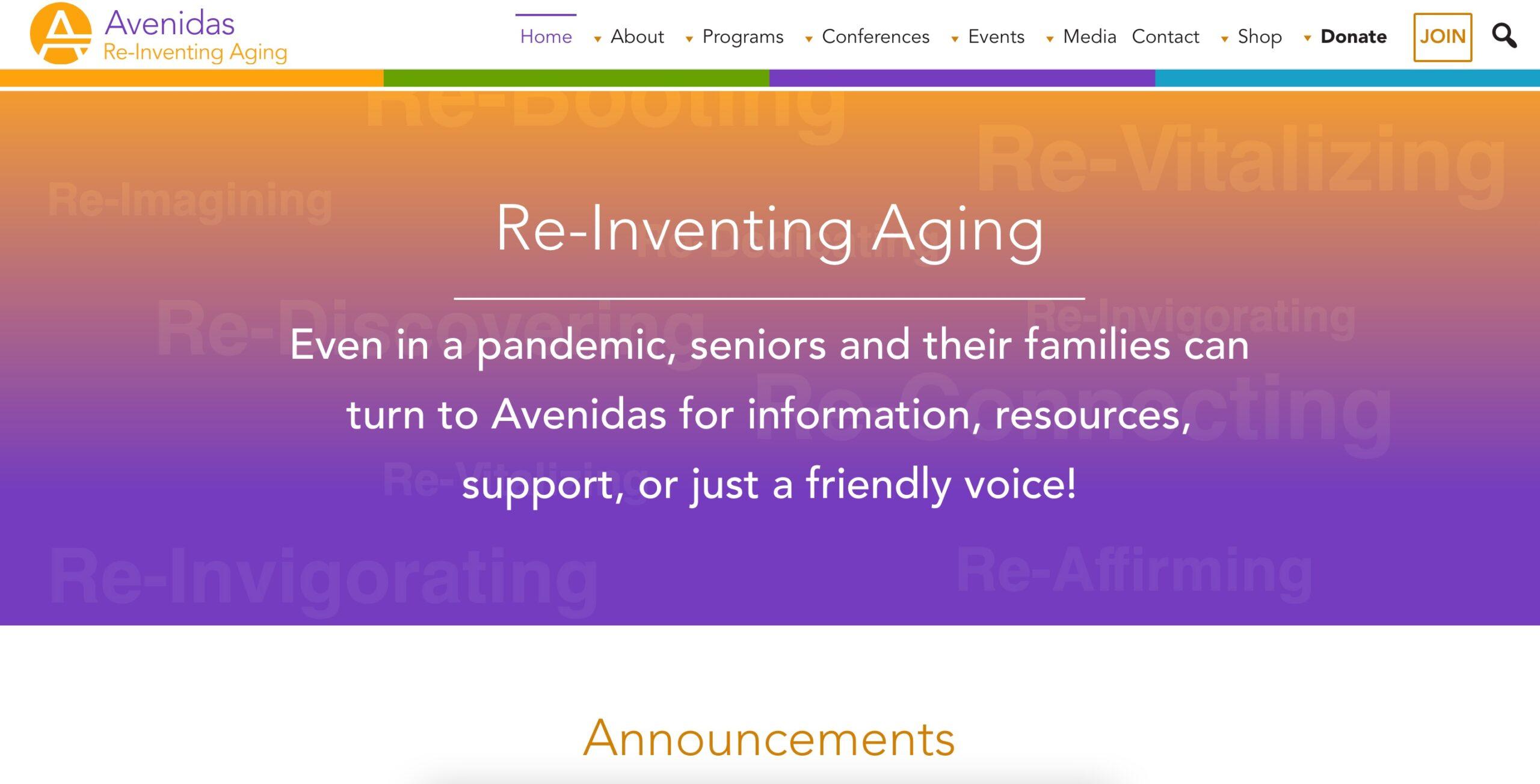 screenshot of Avenidas nonprofit website