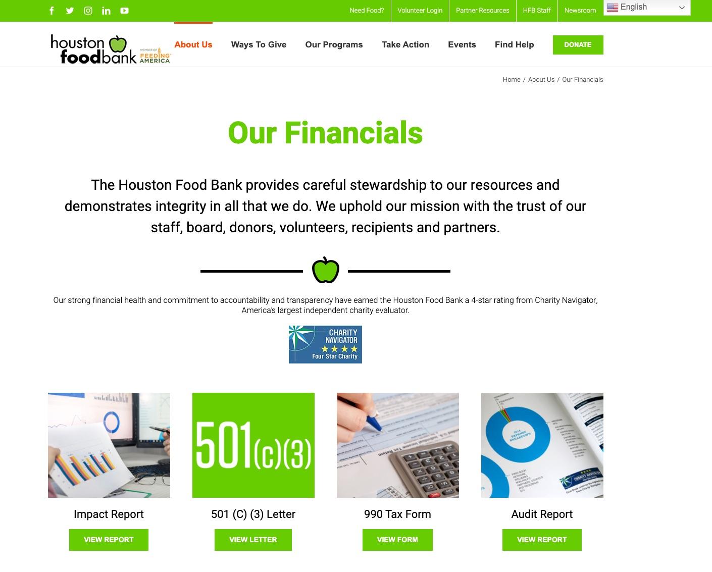 Houston Food Bank financials