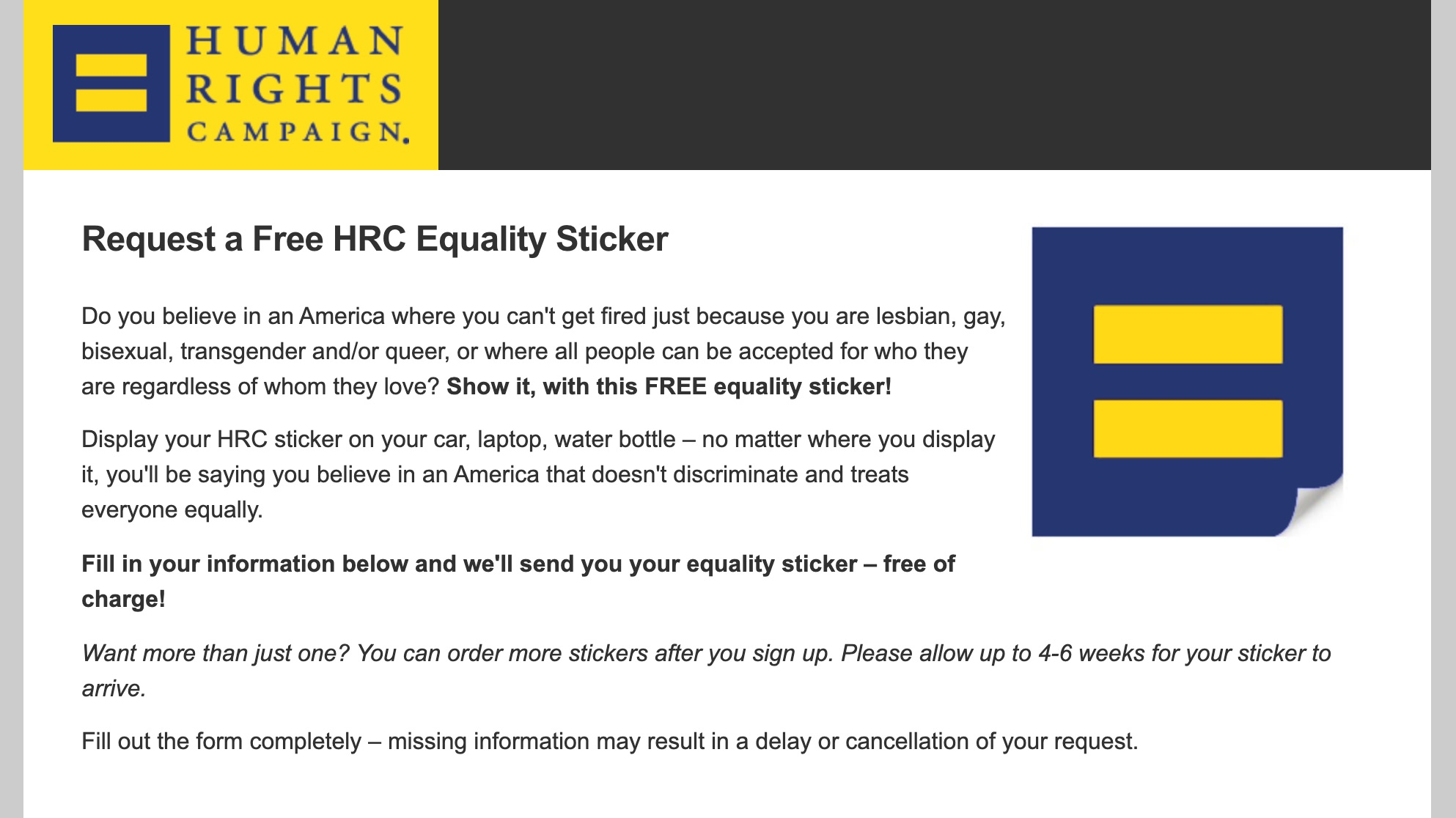 Human rights campaign stickers