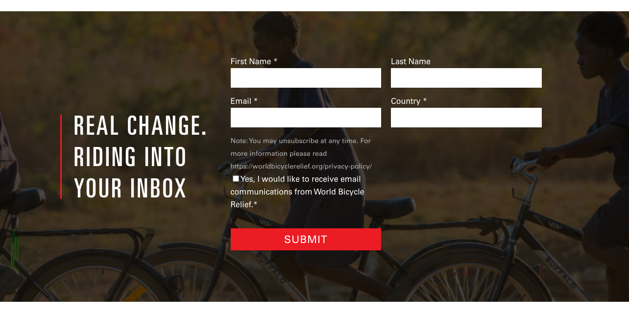 World Bicycle Relief - newsletter signup