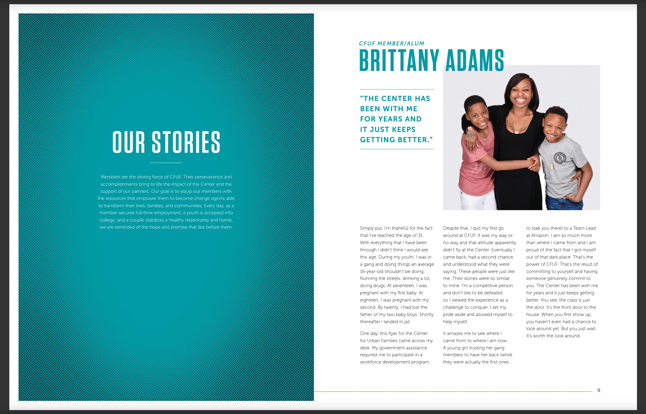 CFUF nonprofit annual report - our stories