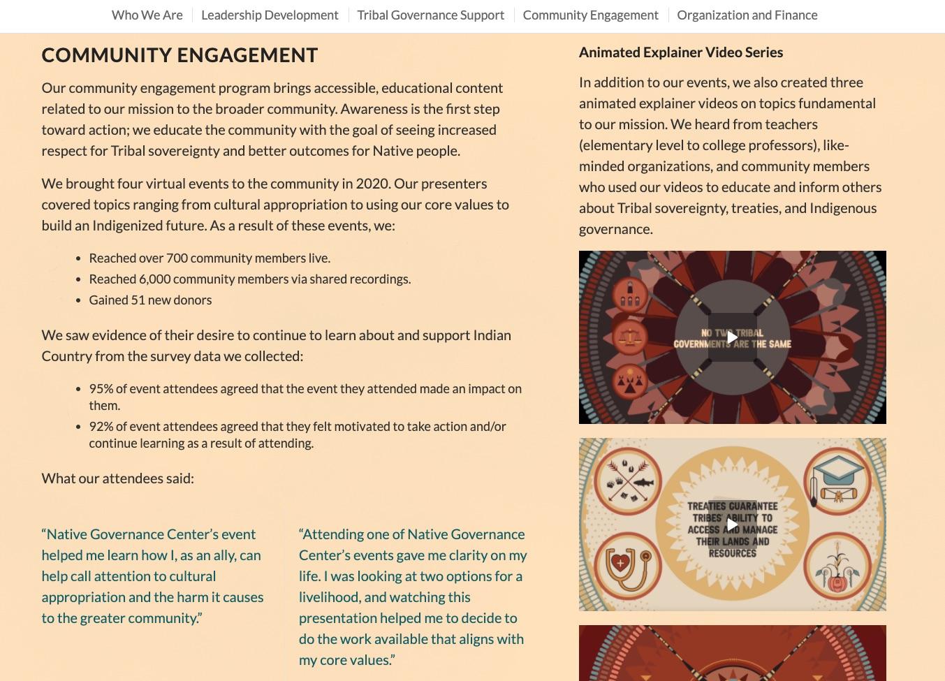Explainer videos - Native Governance Center Nonprofit Impact Report 2020