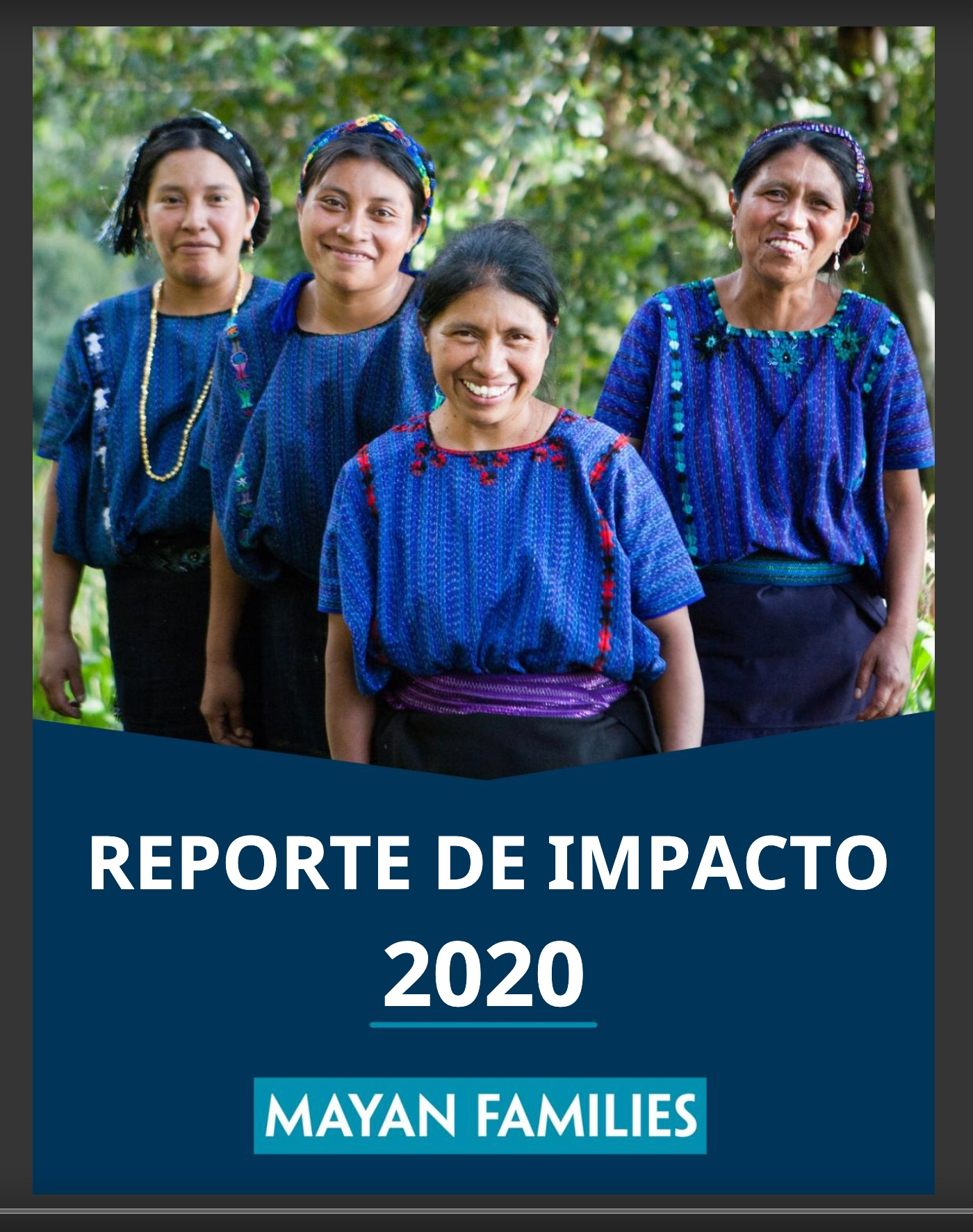 Mayan Families 2020 nonprofit annual report - spanish cover