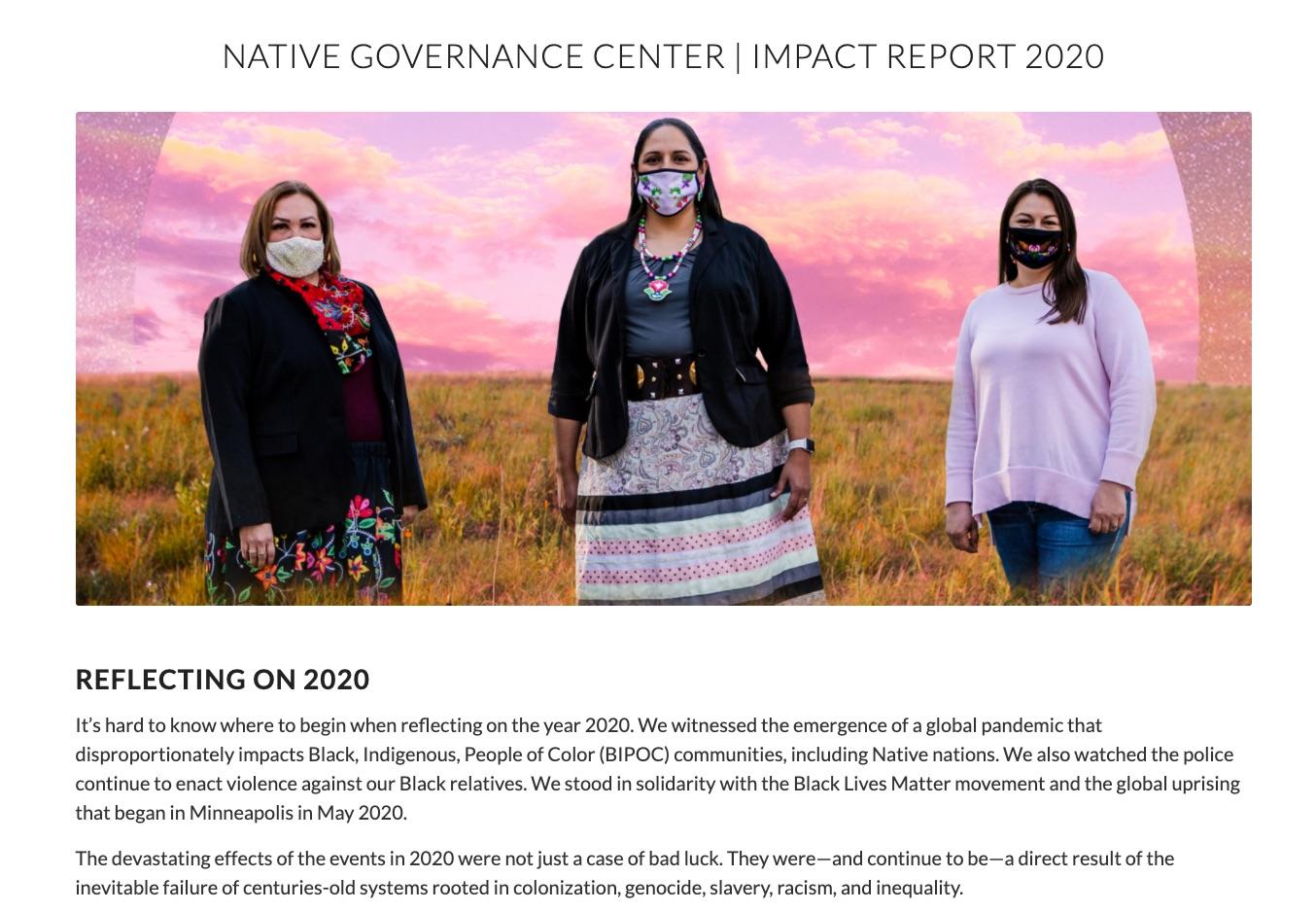 Native Governance Center Nonprofit Impact Report 2020 cover